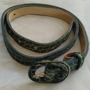 Banana Republic Accessories - Banana Republic skinny BELT Green Croco Leather
